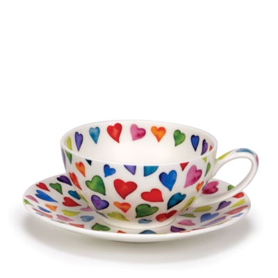 TEA FOR ONE CUP/SAUCER WARM HEARTS